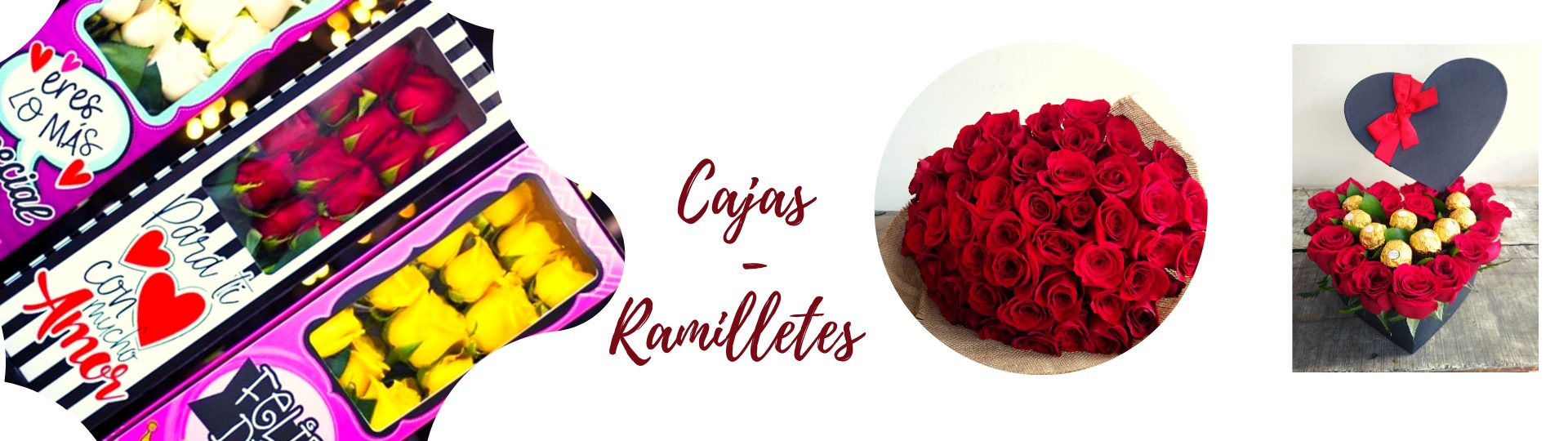 Cajas y ramilletes de flores