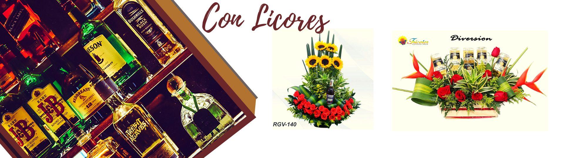 Arreglos florales con licores